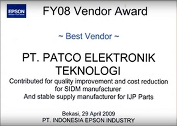 Award : Best Vendor INDONESIA